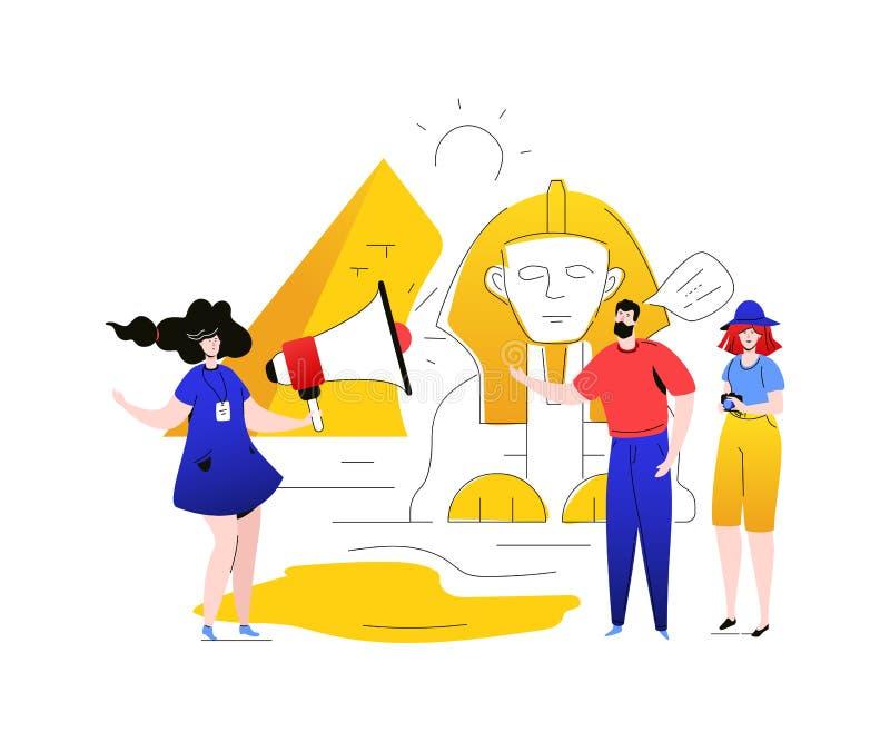 Besök Egypten - färgrik plan designstilillustration vektor illustrationer
