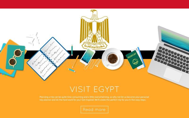 Besöka det Egypten begreppet för ditt rengöringsdukbaner eller skriv ut royaltyfri illustrationer