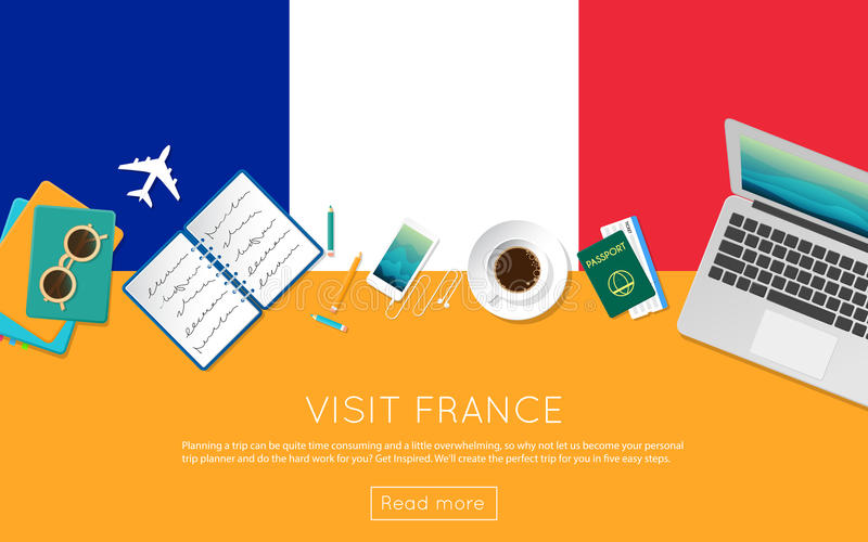 Besöka det Frankrike begreppet för ditt rengöringsdukbaner eller skriv ut stock illustrationer