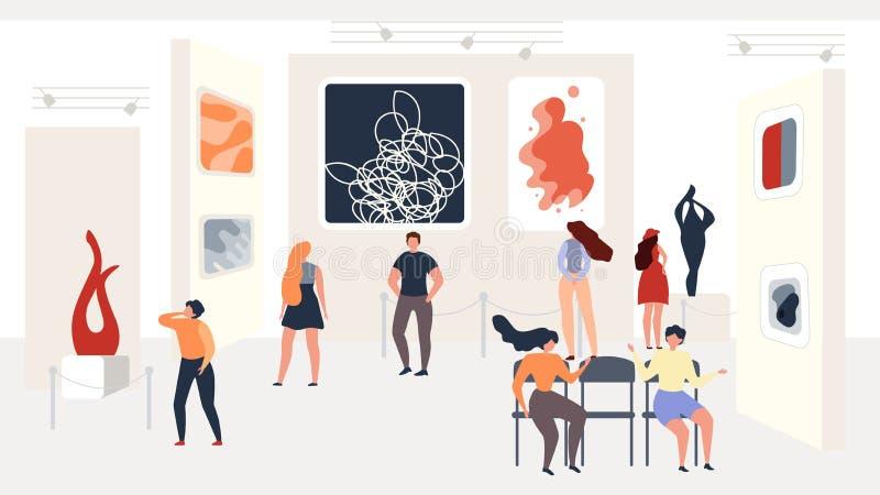 Besöka moderna abstrakta Art Exhibition på gallerit stock illustrationer
