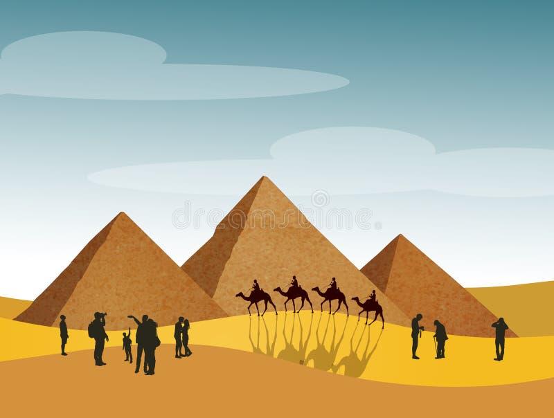Besöka pyramiderna i Egypten vektor illustrationer
