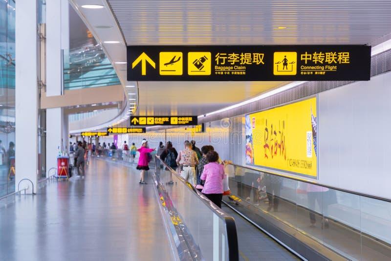 Besökare går runt om avvikelsekorridor inom terminalen Chongqing Jiangbei för den internationella flygplatsen royaltyfri bild