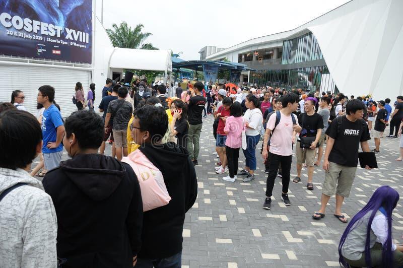 Besökare på Cosfest 2019 i Singapore i stadens centrum stort festtält för öst D ' arkivbilder