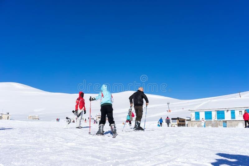 Besökare tycker om snöskidåkningen på berget av Falakro, Greec royaltyfri fotografi