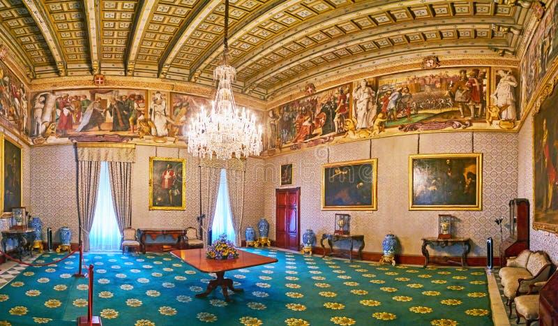 Besöktillståndsrum av Grandmasterslotten, Valletta, Malta royaltyfria foton
