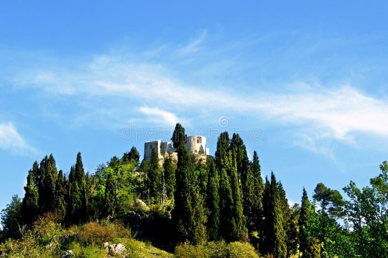 Besac forteca wśród zielonych drzew zdjęcie stock