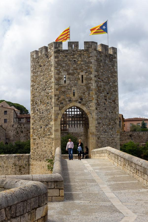 Entrance gate of Besalu stock photography