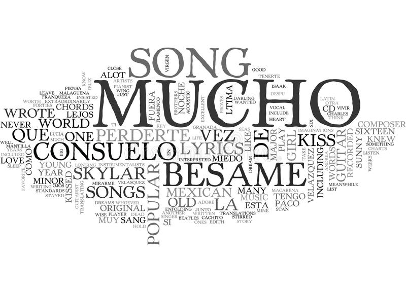 Besame Mucho吉他弦和抒情诗词云彩 向量例证