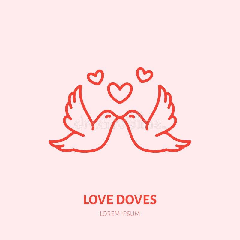 Besar el ejemplo de las palomas Dos pájaros de vuelo en la línea plana icono, relación romántica del amor Muestra del saludo del  stock de ilustración