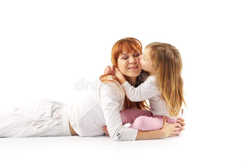 Besar la madre y a la hija fotos de archivo