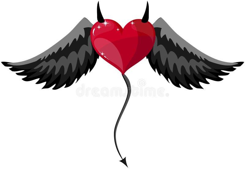 Besatt hjärta med horn och vingar royaltyfri illustrationer