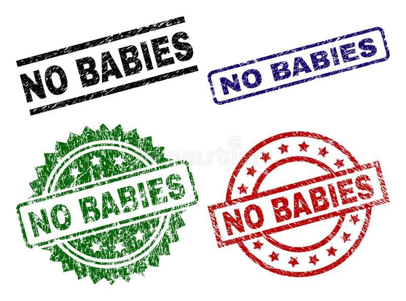 Beschädigt gemasert KEINEN BABYS Stempelsiegeln lizenzfreie abbildung