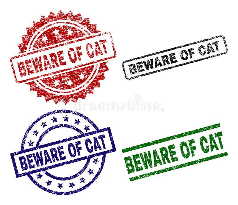 Beschädigt strukturiertes PASSEN Sie VON CAT Seal Stamps auf lizenzfreie abbildung