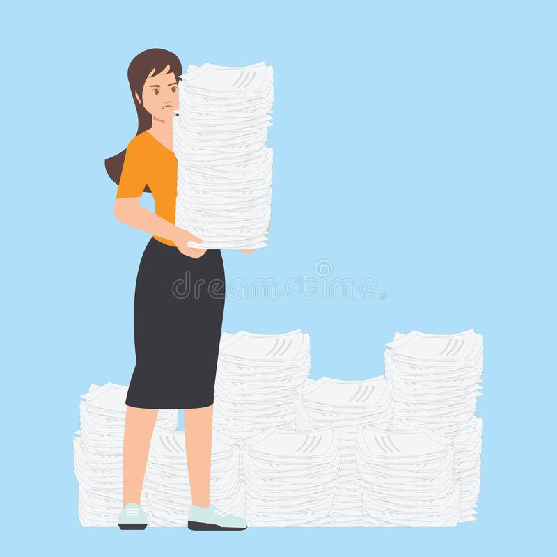 Beschäftigte Geschäftsfrau mit Stapel Büropapier lizenzfreie abbildung