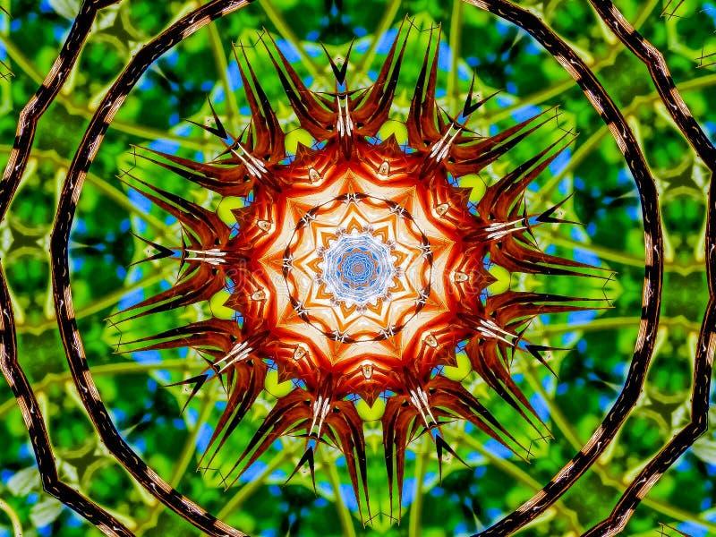 Beschäftigte grüne und trockene Anlagen gemacht in ein Kaleidoskop vektor abbildung