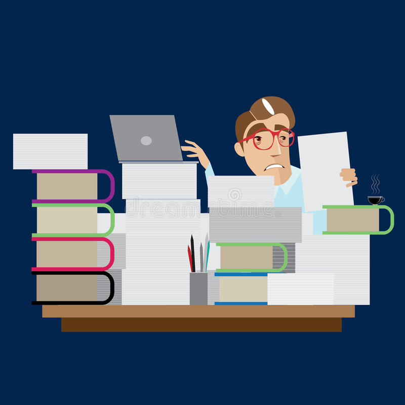 Beschäftigter Geschäftsmann, der am Arbeitsplatz sitzt lizenzfreie abbildung
