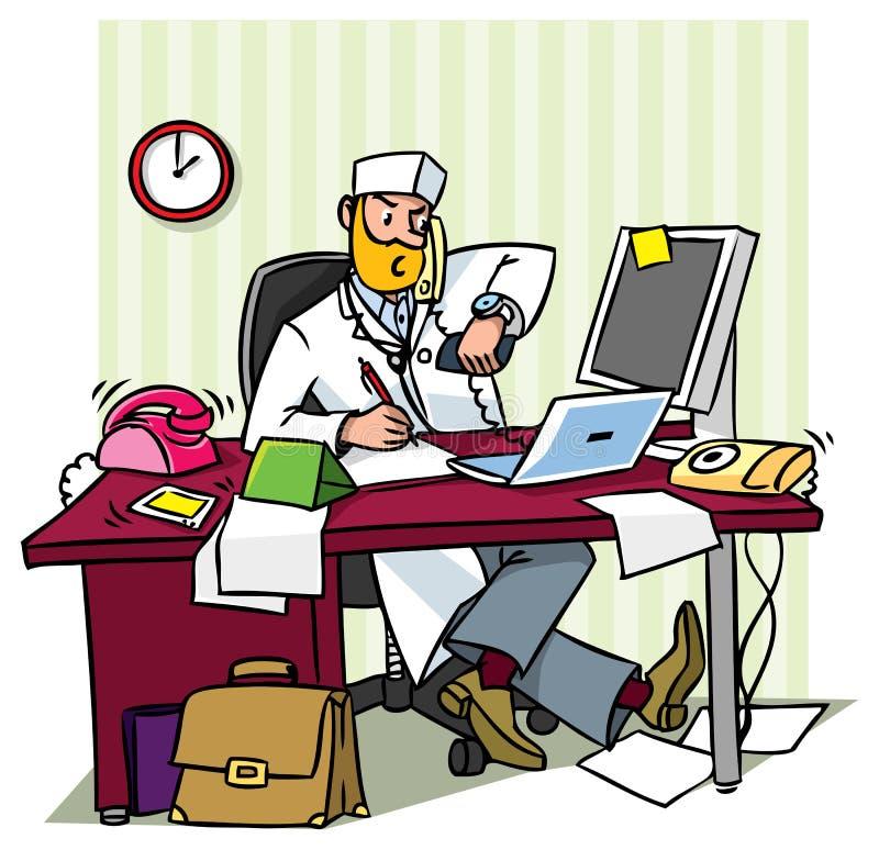 Beschäftigter Hauptdoktor in einem Büro stock abbildung