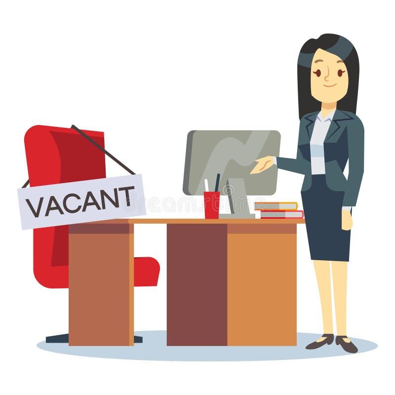 Beschäftigung, freie Stelle und Einstellungsjobvektorkonzept Zeichentrickfilm-Figur Stunden-Manager und Büroarbeitsplatz lizenzfreie abbildung