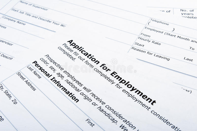 Beschäftigunganwendungsjob stockbild