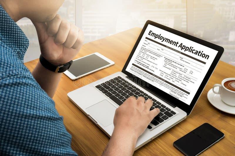 Beschäftigungs-Anwendungs-Vereinbarungs-Form, Anwendung für employmen stockbild