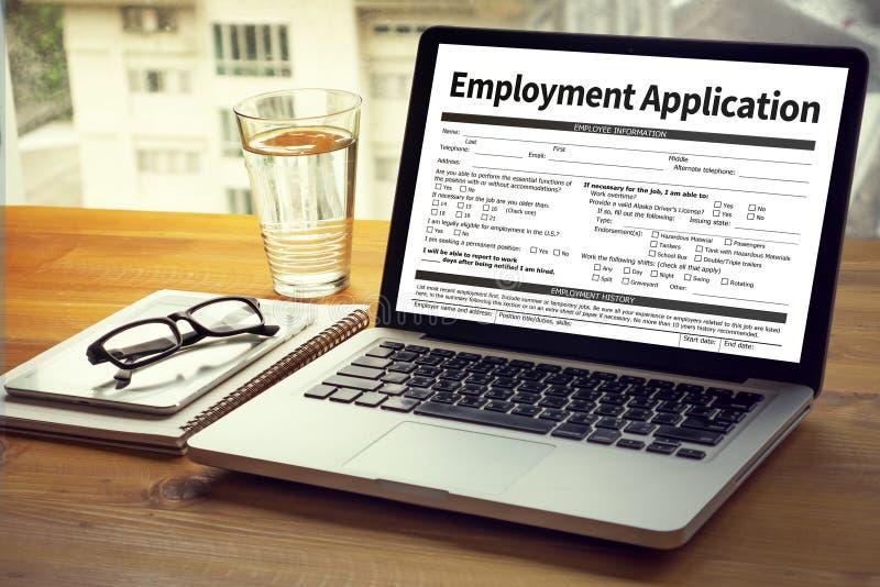 Beschäftigungs-Anwendungs-Vereinbarungs-Form, Anwendung für employmen stockfotografie