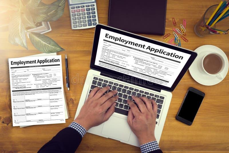 Beschäftigungs-Anwendungs-Vereinbarungs-Form, Anwendung für employmen lizenzfreie stockfotografie