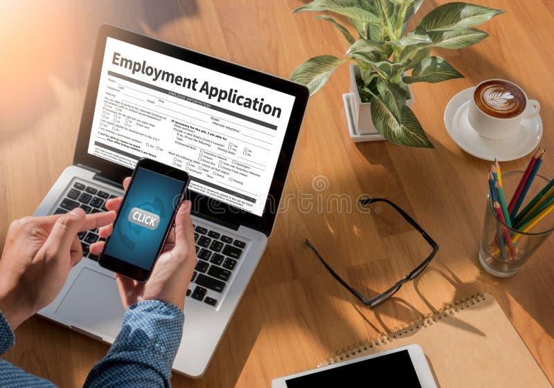 Beschäftigungs-Anwendungs-Vereinbarungs-Form, Anwendung für employmen lizenzfreies stockfoto