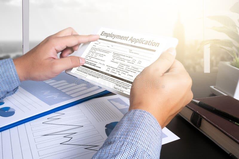 Beschäftigungs-Anwendungs-Vereinbarungs-Form, Anwendung für employmen lizenzfreies stockbild