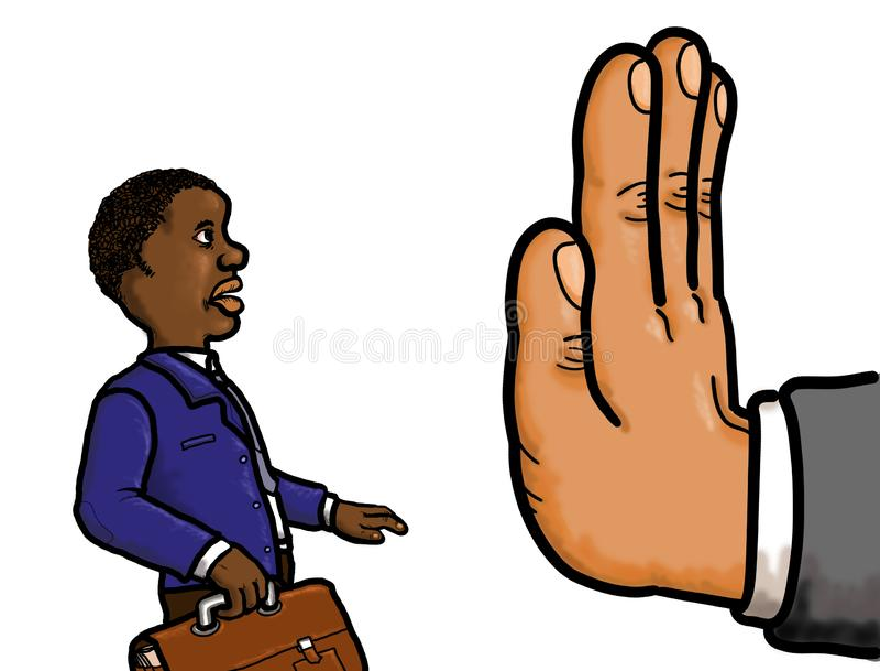 Beschäftigungs-Rassendiskriminierung lizenzfreie abbildung