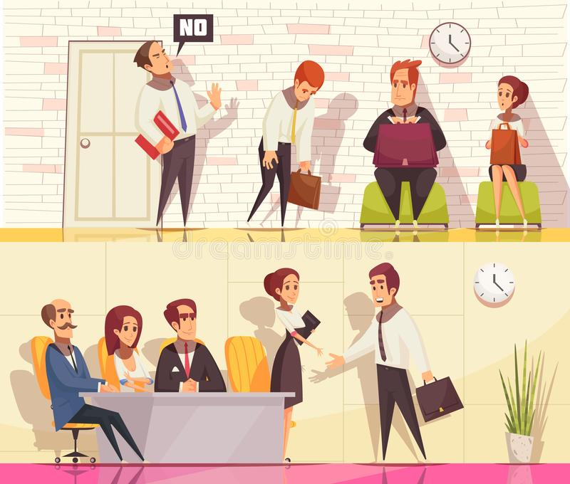 Beschäftigungssituations-Fahnen eingestellt lizenzfreie abbildung