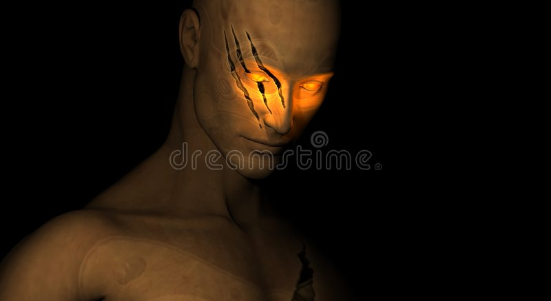 Beschadigd cyborg vector illustratie