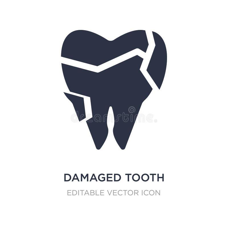 beschadigd tandpictogram op witte achtergrond Eenvoudige elementenillustratie van Tandartsconcept stock illustratie