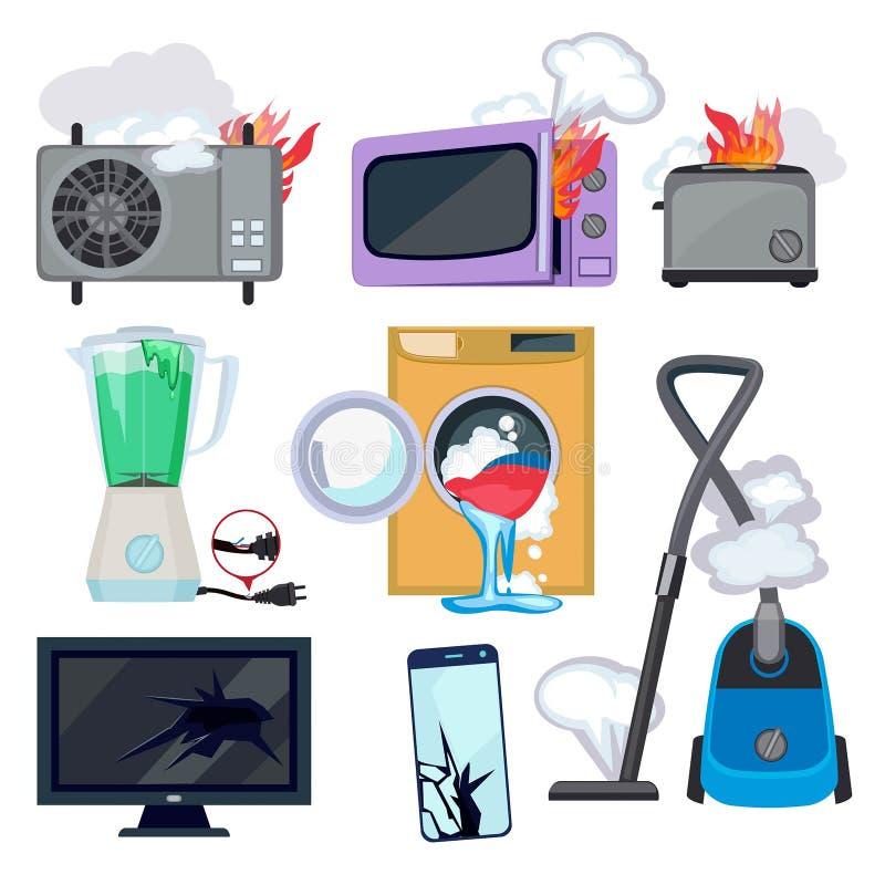 Beschadigd toestel Gebroken van het de brandfornuis van het huishoudenmateriaal van de de microgolfwasmachine de reparatielaptop  royalty-vrije illustratie