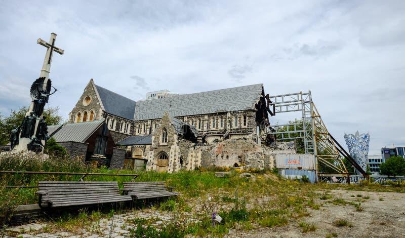 Beschadigde Christchurch-Kathedraal stock afbeelding