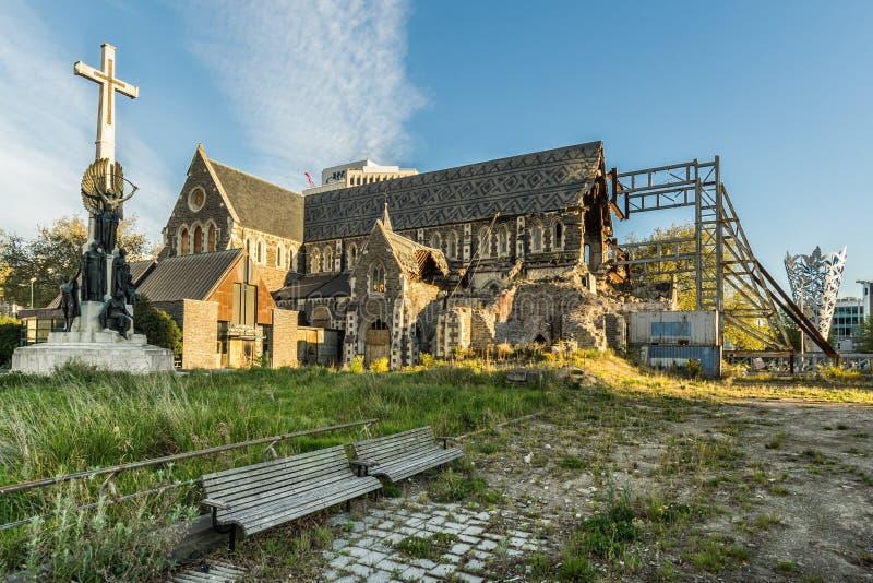 Beschadigde Christchurch-Kathedraal stock afbeeldingen