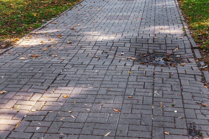 Beschadigde die asfaltweg met potholes, door freeze-thaw cycli in de winter wordt veroorzaakt slechte weg Gebroken bestratingenst stock afbeeldingen