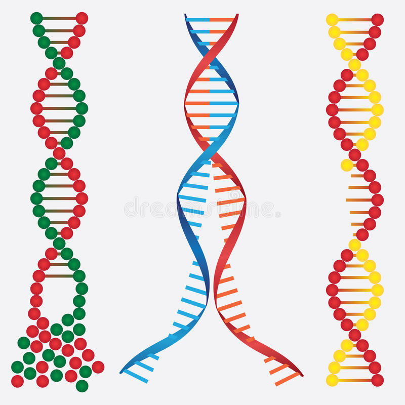 Beschadigde DNA. stock illustratie