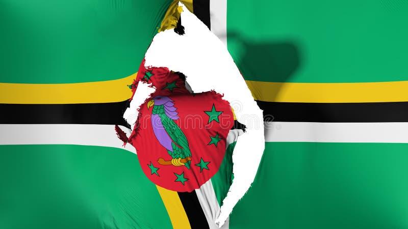 Beschadigde Dominica vlag vector illustratie