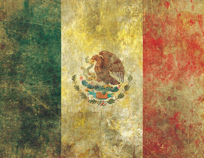 Beschadigde en Langzaam verdwenen Oude Grunge-Stijl Mexicaanse Vlag stock illustratie