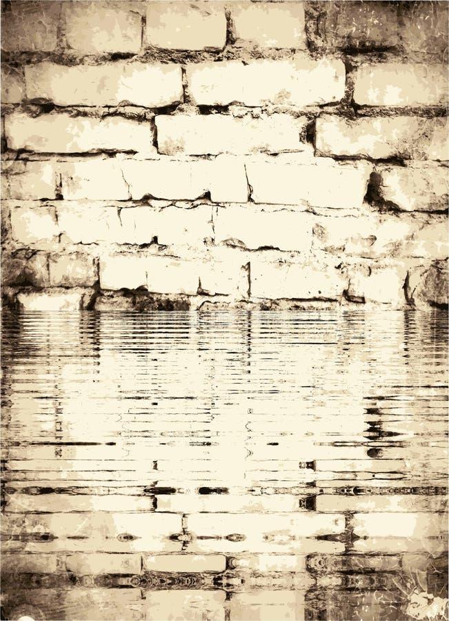Beschaffenheit der alten weißen Backsteinmauer überschwemmt durch Flut vektor abbildung