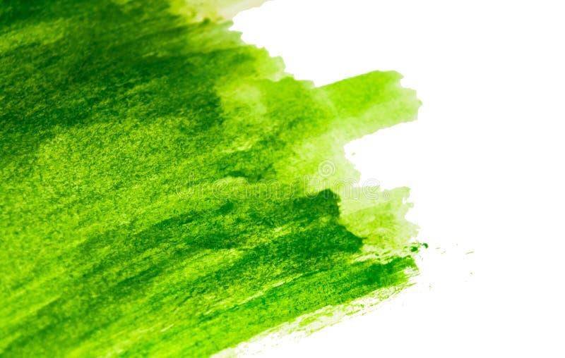 Beschaffenheit der Aquarellfarbe Rechteckhintergrund mit grünem Watercolour auf Weißbuch vektor abbildung