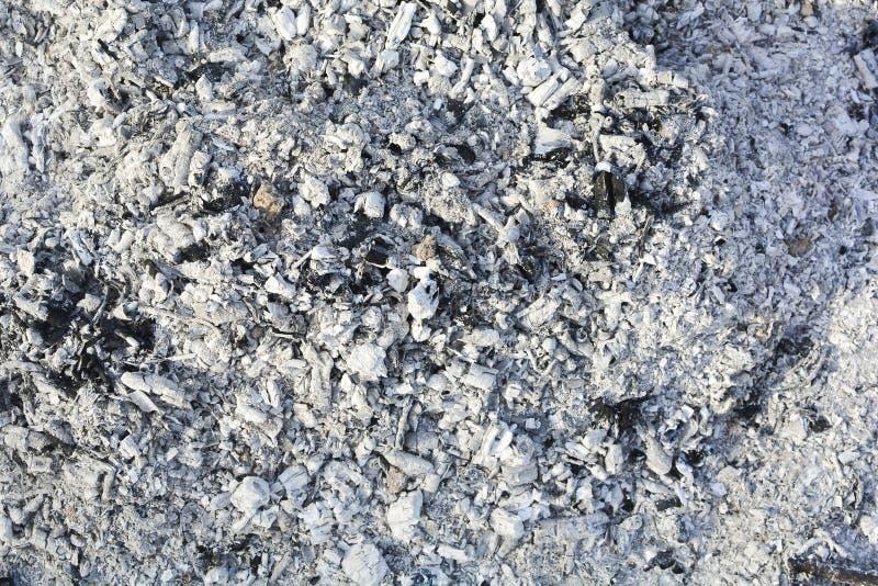 Beschaffenheit der Asche Natürlicher grauer Hintergrund des gebrannten Holzes Gebrannte Kohlen stockbilder