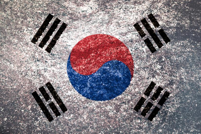 Beschaffenheit der Flagge von Südkorea stockfoto