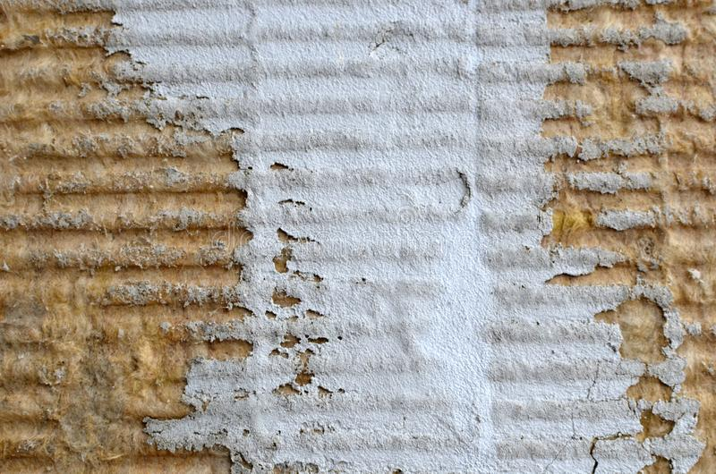 Beschaffenheit der Mineralwolle zum Isolieren die Wände der Fassade der Gebäude lizenzfreie stockbilder