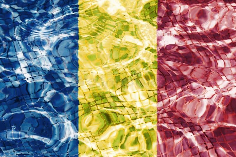 Beschaffenheit der Republik Tschads-Flagge vektor abbildung