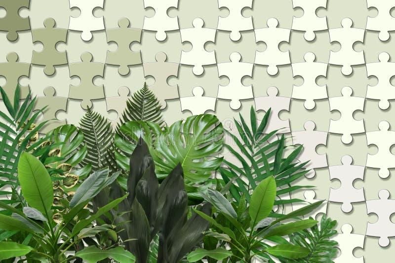 Beschaffenheit der Tapete 3d, Puzzlestücke und grüne Blätter auf Pastellfarbhintergrund lizenzfreie abbildung