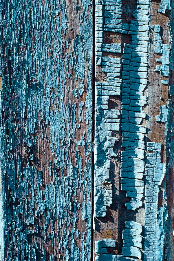 Beschaffenheit des alten rostigen Holzes, gemaltes Blau mit Stellen der ersten Schicht lizenzfreie stockfotos