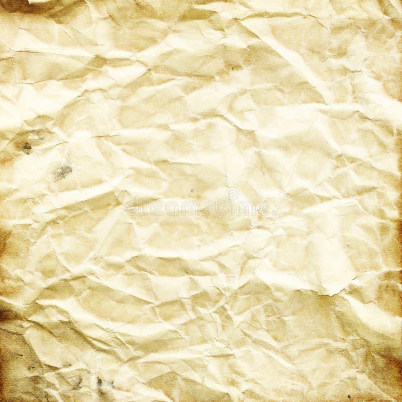 Beschaffenheit des alten zerknitterten Papiers, Beige, brauner Schmutzhintergrund FO vektor abbildung