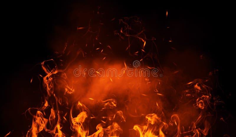 Beschaffenheit des Brandfeuers mit Partikelglut Flammen auf lokalisiertem schwarzem Hintergrund Beschaffenheit für Fahne, Flieger vektor abbildung