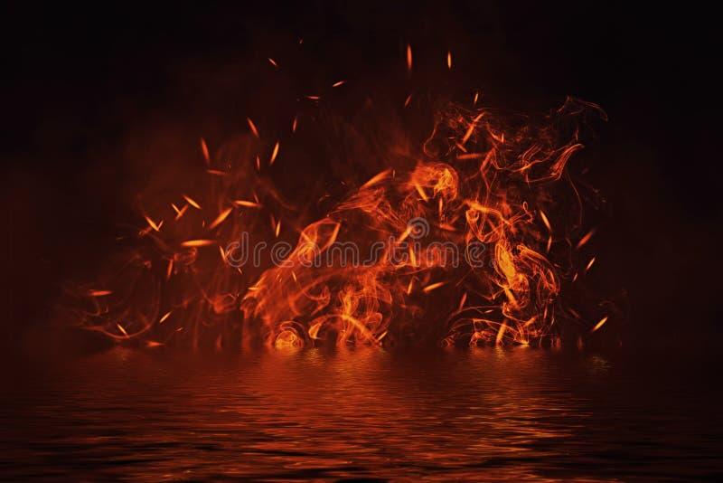 Beschaffenheit des Feuers mit Reflexion im Wasser Flammen auf lokalisiertem schwarzem Hintergrund Beschaffenheit für Fahne, Flieg lizenzfreie abbildung